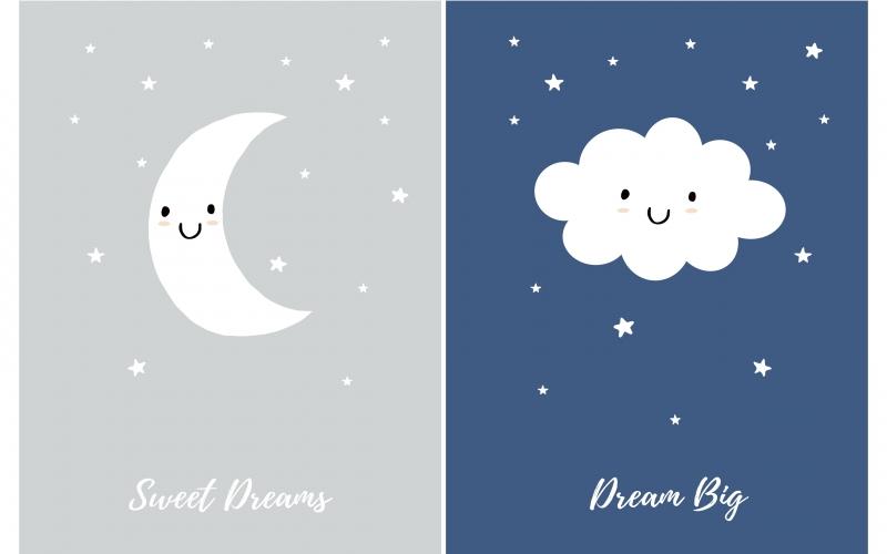 Illustration d'un croissant de lune et petit nuage sur fond de nuit étoilée