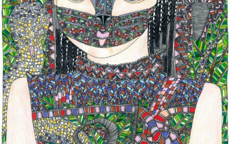 Portrait d'une femme portant un masque de chat