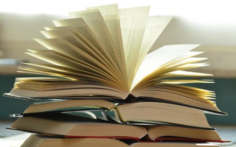 livre ouvert comme un éventail frappé par la lumière diffuse du soleil.