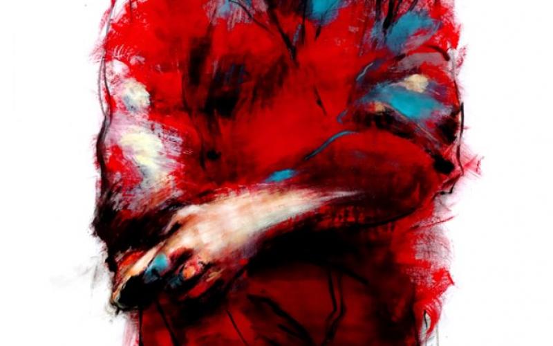 Peinture d'un homme massif, vêtu de rouge de la tête au pieds, aux contours mal définis.   s mal définis