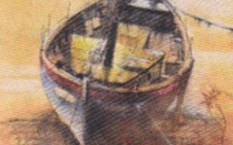 peinture de Mick Abbott, bateau échoué