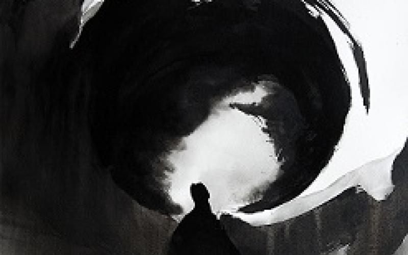 peinture de Marion Le Pennec, personnage dans une vague