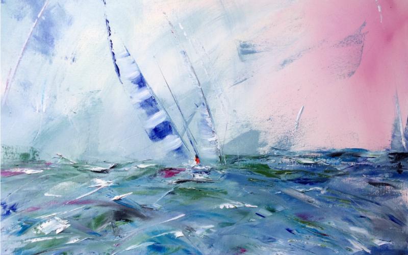 Peinture représentant un bateau à voile en mer.