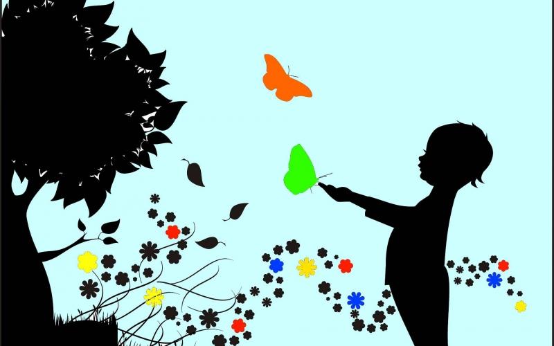 Illustration d'un enfant jouant avec des papillons
